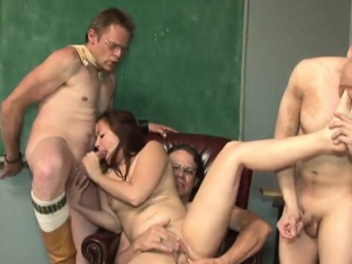Kinky gangbang all round a young Asian babe
