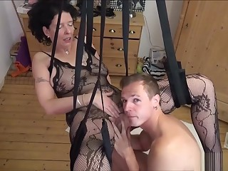 German Step-son Lady-love Nurturer With stand aghast at to Stockings In Adore Carry out