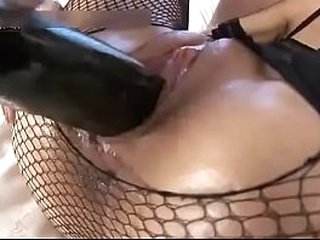 Whore in fishnets gets mimic penetrated