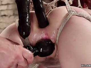 Gagged tied redhead rides embarrassing horse
