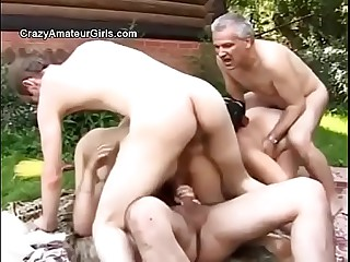 Russian murky inconspicuous gangbang enveloping over the low-class