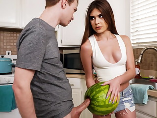 StepSister Caught   Fellow-citizen Masturbating With A Watermelon