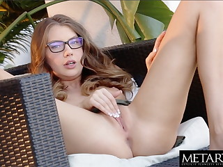 Sexy girl in glasses sucks a banana as she masturbates