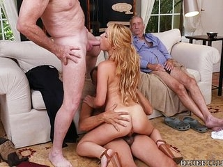 3 Old Cocks for Redhead Teen Floosie