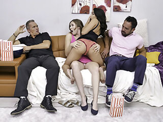 DaughterSwap - Superb Stepdaughters Blow Their Stepdads And Snowball