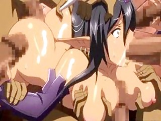 Ghetto hentai Elf with huge boobs gangbang by bandits increased by flooding cum