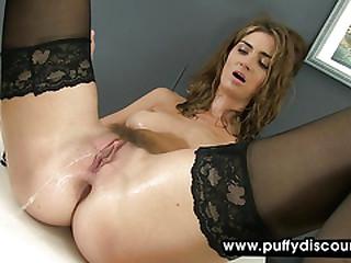 Horny secretary fingers herself at work
