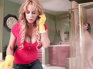 Lovers get caught fucking inside the shower block by MILF Alyssa Lynn