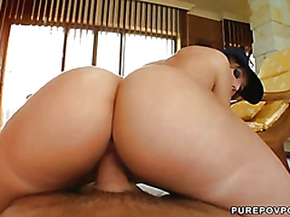 Suzane swallows a big cumload after she rides his dong reverse cowgirl style