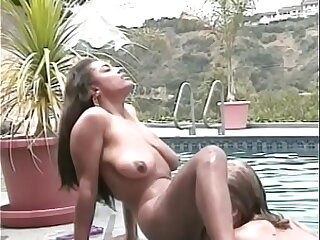 Threatening pulchritude with the addition of lusty blonde finger fuck each other by the pool