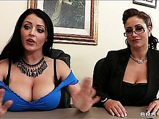 Johnny Sins is prosaic by two busty brunettes in a job interview