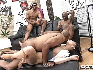 Three nefarious ragtag liquidate the Asian sluts pussy