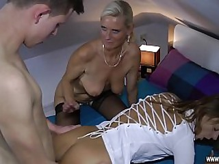 This cute Moms want to take a crack at fun with young Boy
