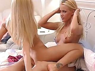 Beautiful identical blondes fucking